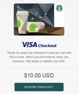 Starbucks Coupon: Free $10 eGift with Reload of $10+ via Visa Checkout in App