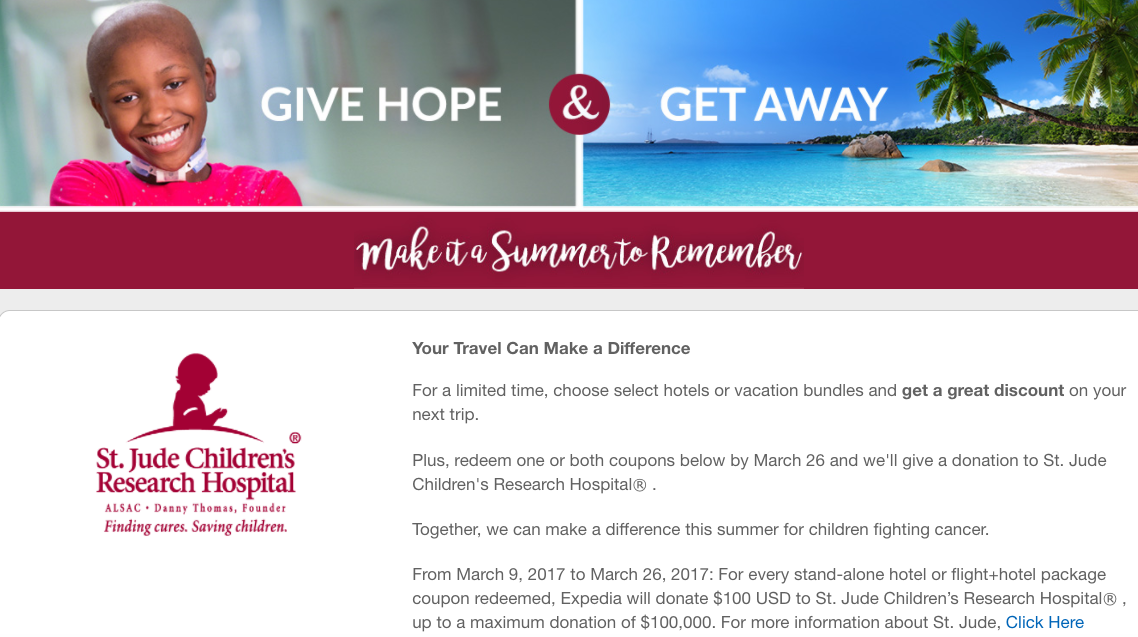 Expedia Coupons for $100 or $200 Off That Give to St. Jude Childrens Research Hospital