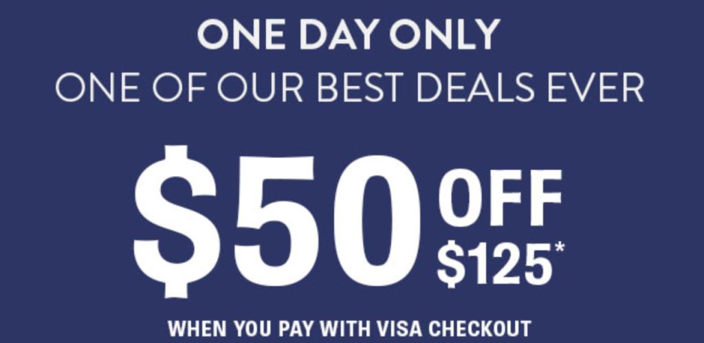 Shoes.com $50 off $125 Visa Checkout Coupon